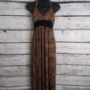 Star Vixen/ Leopard print halter dress/ Size small